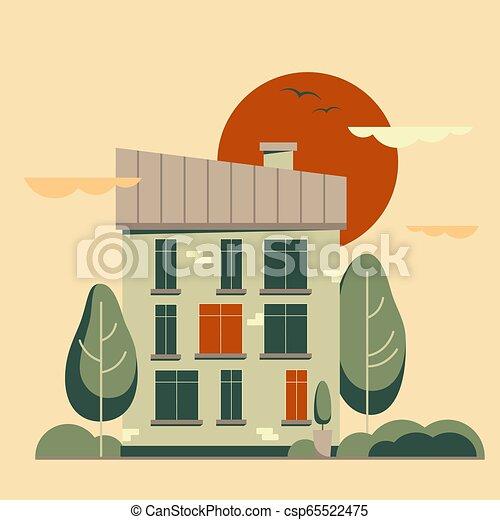 套間, 城市, 風景。, 矢量, 夏天, 卡通, 建筑物。 - csp65522475