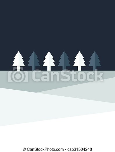 套間, 樹, 簡單地, 夜晚, 聖誕節, land., design. - csp31504248