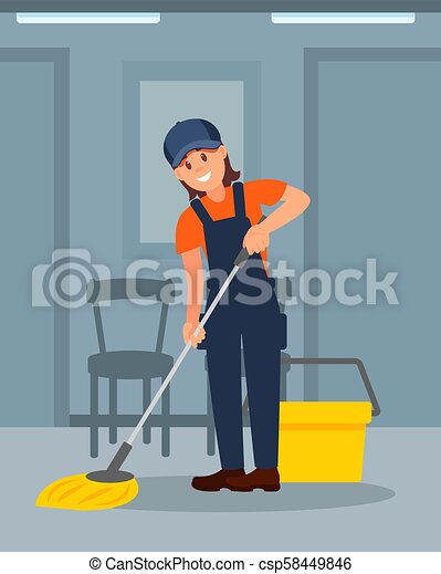 套间, 妇女, 色彩丰富, 工作, 地板, 年轻, 描述, 快乐, 矢量, 打扫, 女孩, corridor., uniform. - csp58449846
