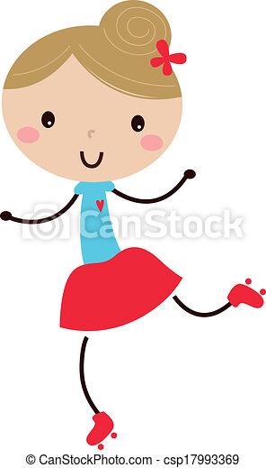 女の子, いたずら書き, 隔離された, かわいい, ローラースケート, 白 - csp17993369