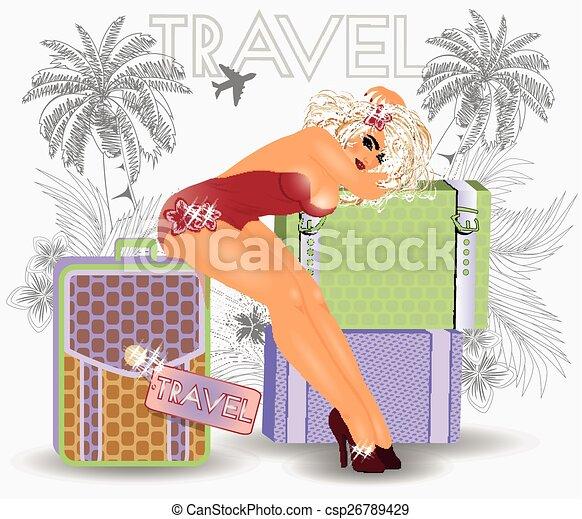女の子, の上, 旅行, セクシー, 夏, ピン - csp26789429