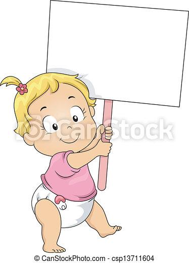 女の子, よちよち歩きの子, 板, 保有物, ブランク - csp13711604