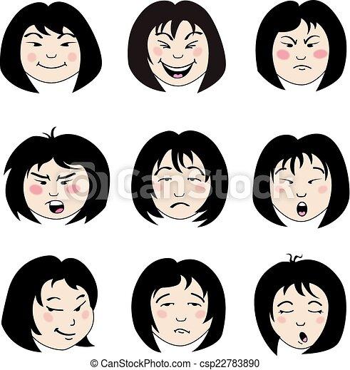 女の子, アジア人, 顔 - csp22783890