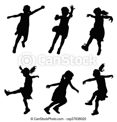 女の子, セット, シルエット, イラスト, 幸せ - csp37638020