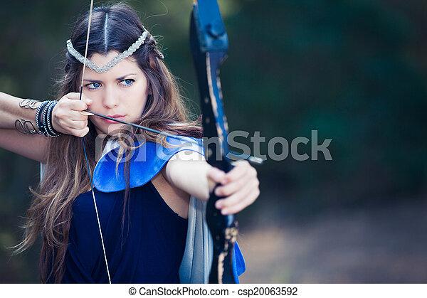 女の子, ハンター, 森林, 矢, 弓 - csp20063592