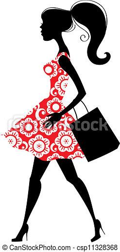 女の子 ファッション 買い物 イラスト