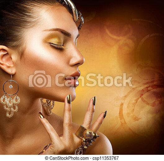 女の子, ファッション, makeup., 金, 肖像画 - csp11353767