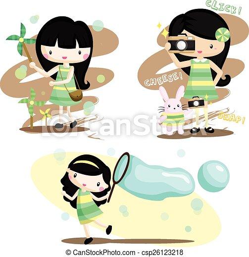 女の子, ベクトル, セット, 幸せ - csp26123218