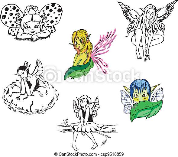女の子, ベクトル, セット, fairies. - csp9518859