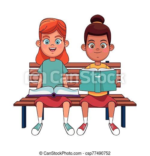 女の子, ベンチ, モデル, 幸せ, 読書, 本 - csp77490752