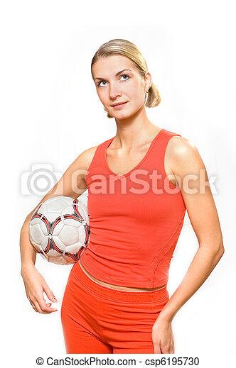 女の子, ボール, スポーティ - csp6195730