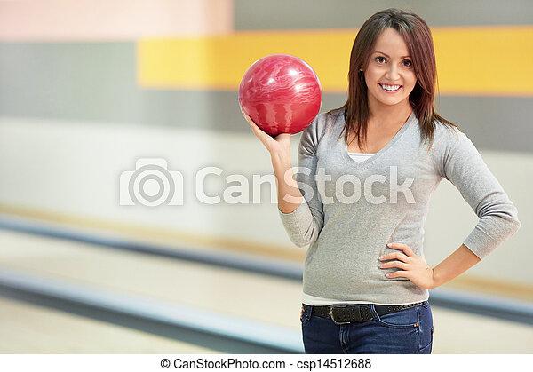 女の子, ボール, ボウリング - csp14512688