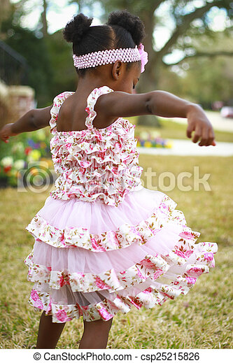 女の子, レース, 花, 無作法, ピンクのドレス - csp25215826