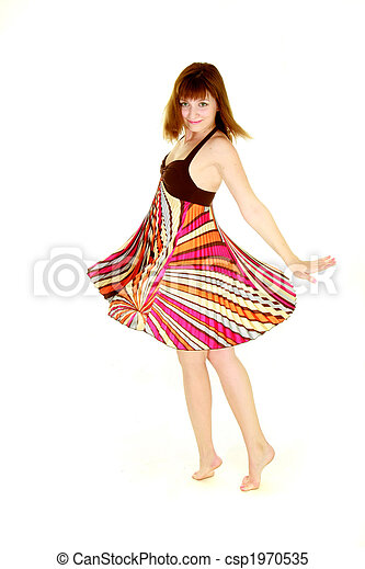 女の子, 上に, 白, ダンス - csp1970535