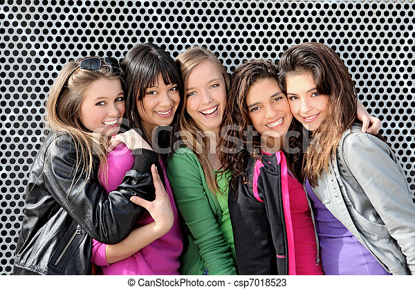 女の子, 十代の若者たち, 多様, グループ - csp7018523