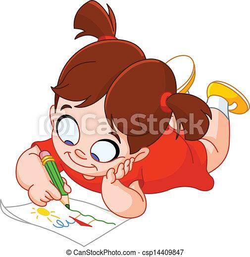 女の子, 図画 - csp14409847