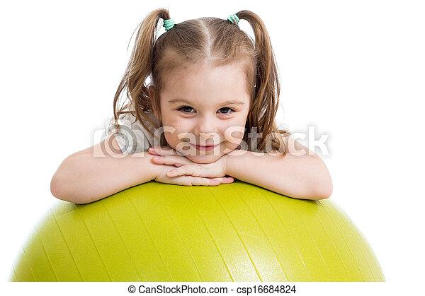 女の子, 子供, 隔離された, ボール, 体操 - csp16684824