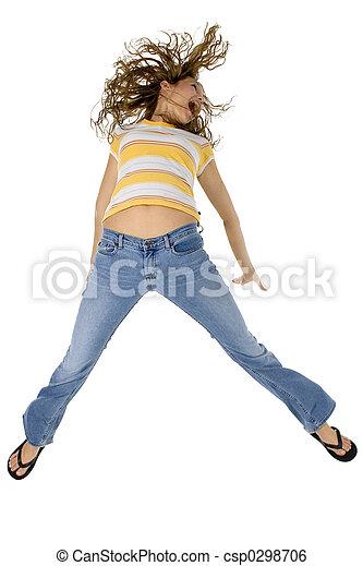 女の子 幸せ 十代 jumping 若い