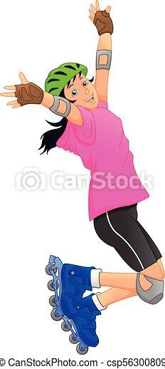 女の子, 幸せ, ローラースケートをしなさい - csp56300809