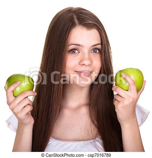 女の子, 幸せ, 若い, 隔離された, 微笑, 十代, 緑のリンゴ, 白 - csp7016789