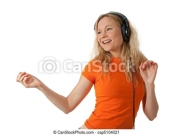 女の子, 幸せ, 音楽が聞く, ダンス - csp5104021
