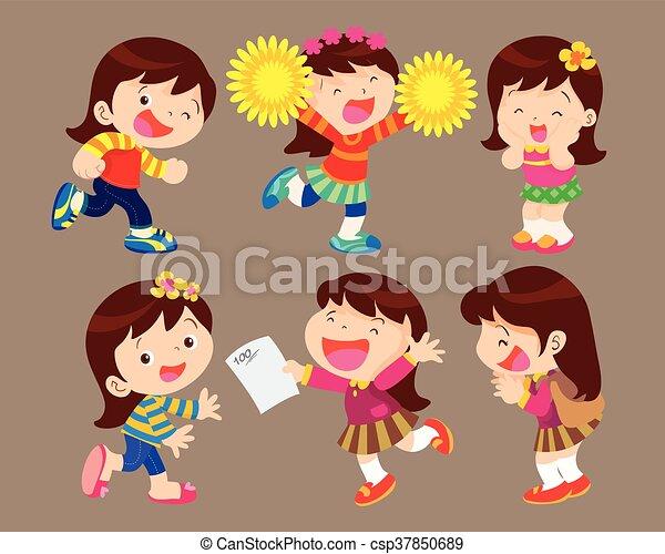 女の子, 幸せ - csp37850689