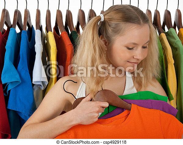 女の子, 店, 選択, 衣服 - csp4929118