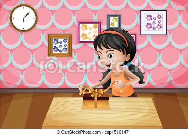 女の子, 彼女, プレゼント, 包みを解くこと - csp15161471