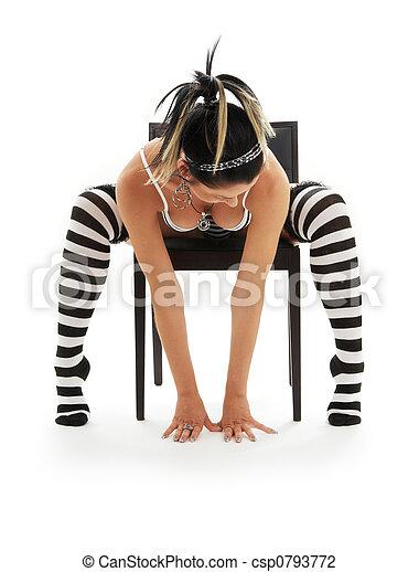 女の子, 椅子, 下着, しまのある - csp0793772