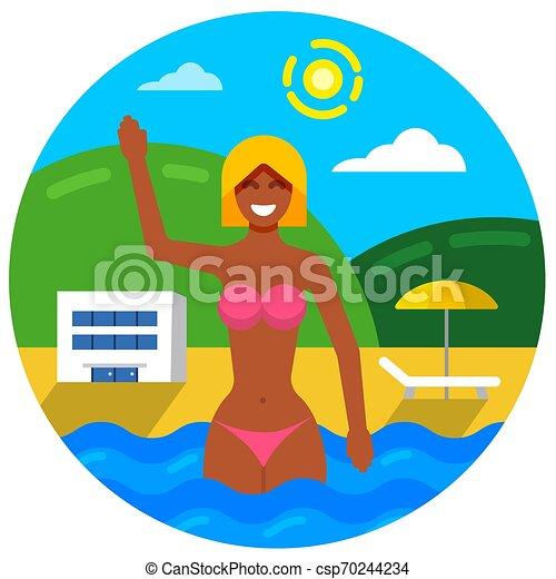 女の子, 浜 - csp70244234