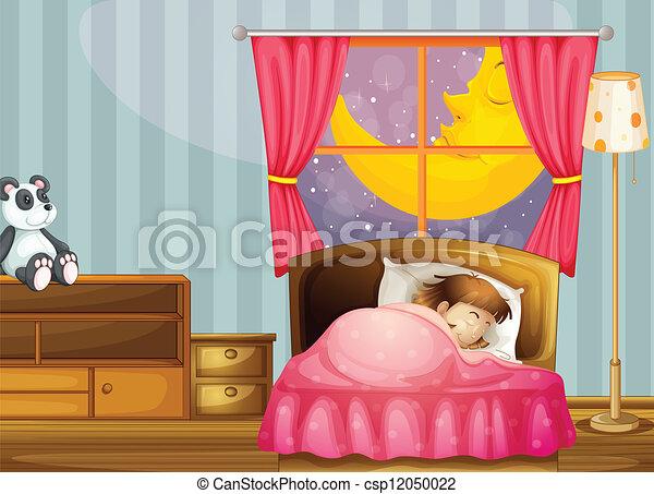 女の子, 睡眠 - csp12050022