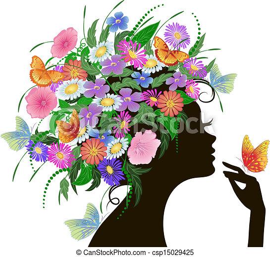女の子, 花, 蝶 - csp15029425