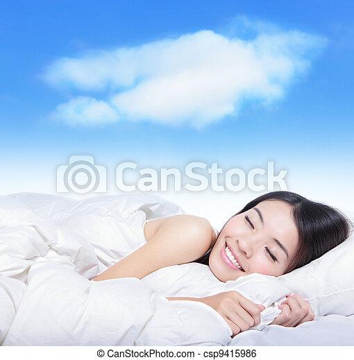 女の子, 若い, 睡眠, 白, 枕, 雲 - csp9415986