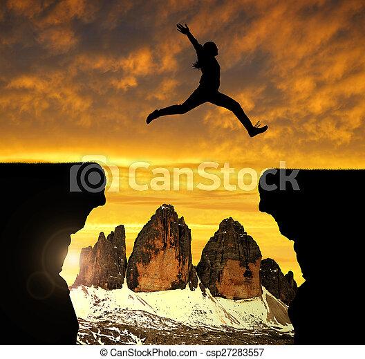 女の子, 跳躍, ギャップ - csp27283557