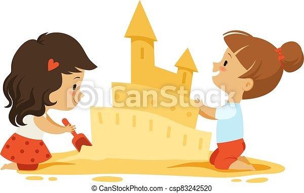 女の子, 隔離された, 砂, 砂場, ベクトル, castle., 屋外で, ∥あるいは∥, 浜。, わずかしか, プレーしなさい, 子供, 特徴 - csp83242520