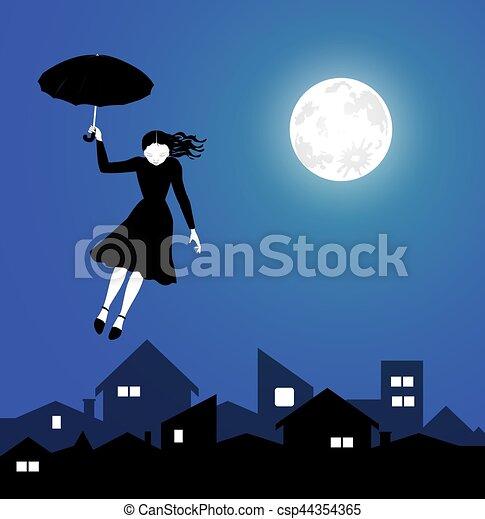 女の子 飛行 空 若い 夜 素晴らしい 飛行 空 若い イラスト 夜
