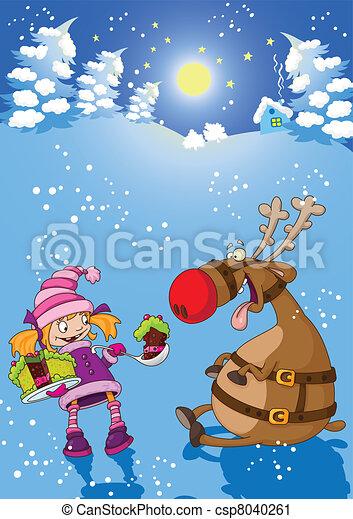 女の子, 鹿, クリスマス, 夜 - csp8040261