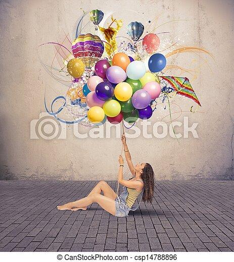女の子, balloon - csp14788896