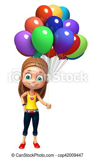 女の子, balloon, 子供 - csp42009447