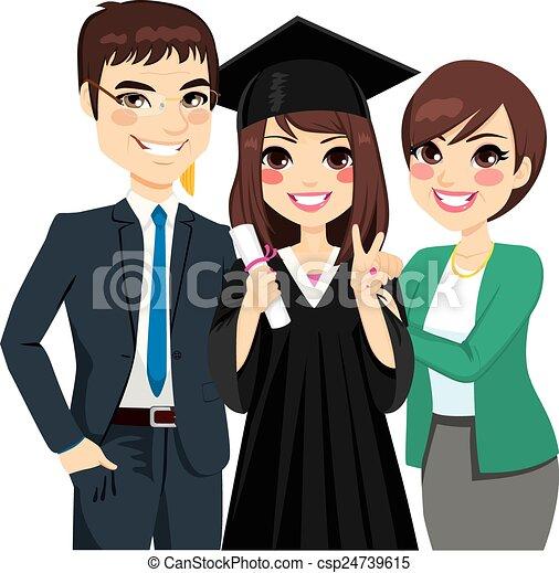 女儿, 驕傲的父母, 畢業 - csp24739615