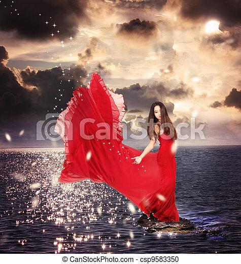 女孩, 大海, 站, 红的岩石, 衣服 - csp9583350