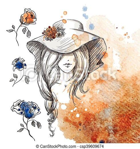 女孩, 帽子 - csp39609674
