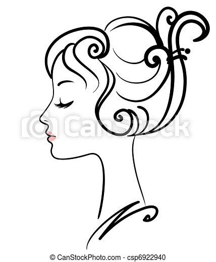 女孩, 描述, 脸, 矢量, 美丽 - csp6922940