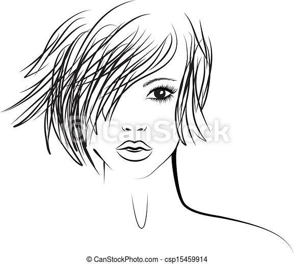 女孩, 時裝, 流行, 插圖, 發型 - csp15459914