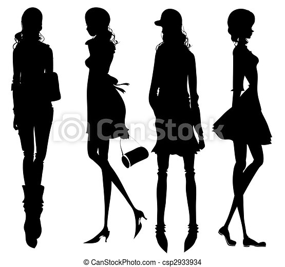 女孩, 時裝, 黑色半面畫像 - csp2933934