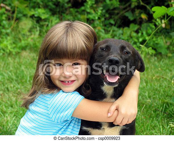 女孩, 狗 - csp0009923