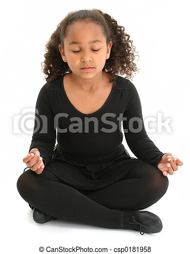 女孩, 瑜伽, 孩子 - csp0181958