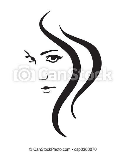 女孩, 矢量, 符号, 脸 - csp8388870