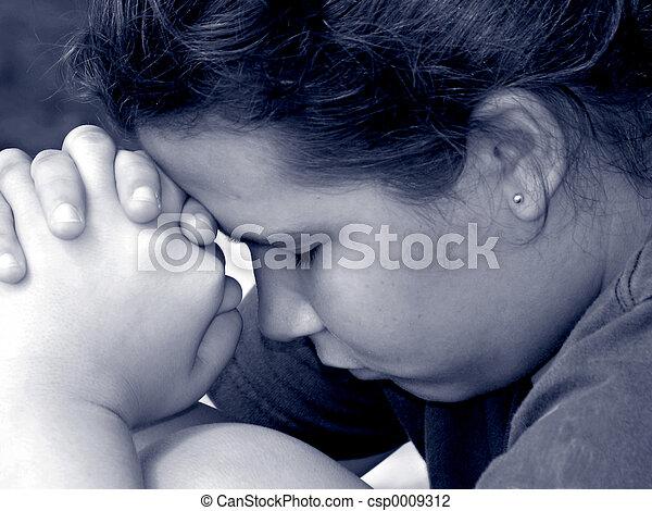 女孩, 禱告 - csp0009312
