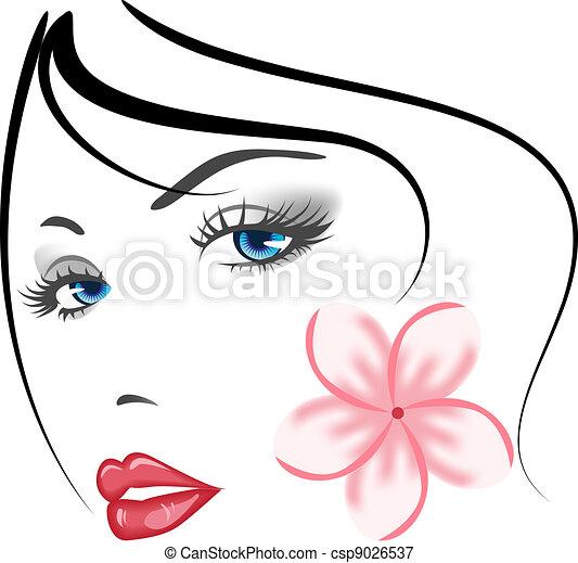 女孩, 脸, 美丽 - csp9026537